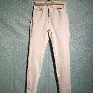 American Apparel cream high-waisted zipper pants